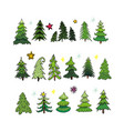 set of different elegant christmas trees vector image vector image