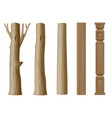 set of pillars of wood vector image vector image