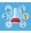 set test tube with laboratory research science vector image
