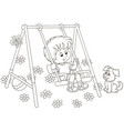 small boy on a toy swing on a playground vector image