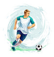 soccer player with a ball from splash of vector image vector image