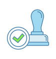 stamp approved color icon vector image vector image