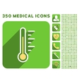 Temperature Level Icon and Medical Longshadow Icon vector image vector image