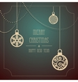 Vintage card with Christmas balls om a dark vector image