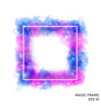 watercolor magic fire frame with neon counter vector image vector image