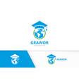 world and graduate hat logo combination vector image vector image