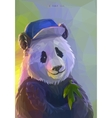 Cool panda rapper in polygonal style vector image