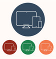phone tablet laptop icons set vector image