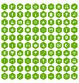 100 light icons hexagon green vector image vector image