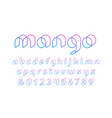 3d linear font alphabet with latin letters and