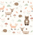 a seamless pattern woodland creatures vector image