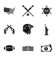Attractions of USA icons set simple style vector image vector image