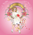 blonde girl in white dress with floral vector image