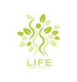 bright green life logo with human silhouette and vector image vector image