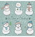 Cartoon snowmen set christmas vector image vector image