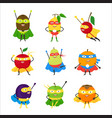 cartoon vegetables superhero characters icon set vector image vector image