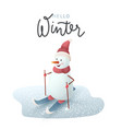 christmas snowman on skis vector image