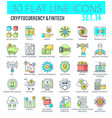 cryptocurrency and fintech icons vector image vector image