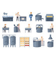 dairy production cartoon icons set vector image vector image