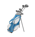 drawing golf bag in color isolated on vector image