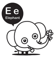 E Elephant cartoon and alphabet for children to vector image vector image