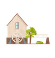 facade of watermill with rotating wheel isolated vector image