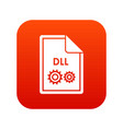 file dll icon digital red vector image vector image