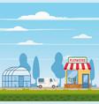 flower shop delivery truck greenhouse landscape vector image vector image