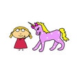 girl and unicorn fairy-tale character and child vector image vector image