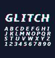 glitch alphabet letters vector image
