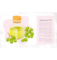 grapes and hair oil in bottle postcard vector image vector image