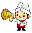head cook character is holding a loudspeaker vector image vector image