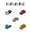 isometric car set of autobus auto car and other vector image vector image
