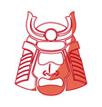 japanese samurai mask warrior face shadow vector image vector image