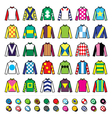 Jockey uniform - jackets silks and hats vector image