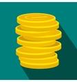 Lucky gold coin flat icon vector image vector image