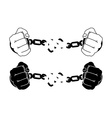 Male hands breaking steel handcuffs Black and vector image vector image