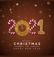new year 2021 greeting card with 2021 lettering vector image vector image