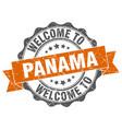 panama round ribbon seal vector image vector image
