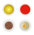 realistic detailed sauces in plate set vector image
