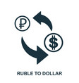ruble to dollar icon mobile app printing web vector image vector image