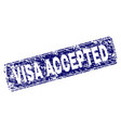 scratched visa accepted framed rounded rectangle vector image vector image