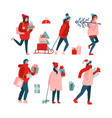 set with isolated people in winter clothing vector image