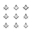 set with masonic square and compasses vector image vector image