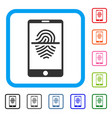 smartphone fingerprint scanner framed icon vector image