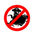 stop web pirate octopus and laptop ban sign vector image vector image