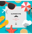 Summertime traveling template with beach summer vector image vector image