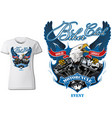 t-shirt design for biker chick with eagle vector image vector image