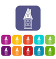 two storey house with attic icons set vector image vector image