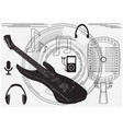 guitar microphone headphones vector image